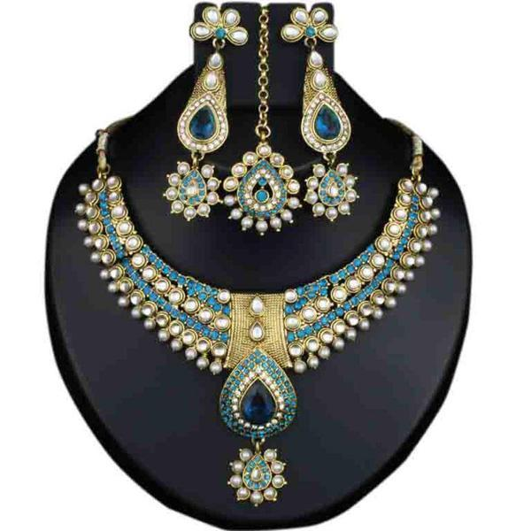 Kriaa Blue Stone Necklace Set With Maang Tikka - 2100104