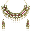Kriaa Red Stone Kundan Necklace Set - 2101701
