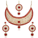 Kriaa Red Stone Necklace Set With Maang Tikka - 2102102