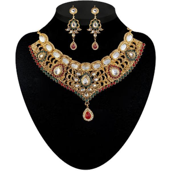Kriaa Maroon And Green Pota Stone Necklace Set - 2102201