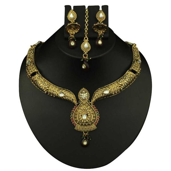 Kriaa Maroon Stone Necklace Set With Maang Tikka