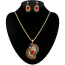 Kriaa Pink And Green Austrian Stone Pendant Set