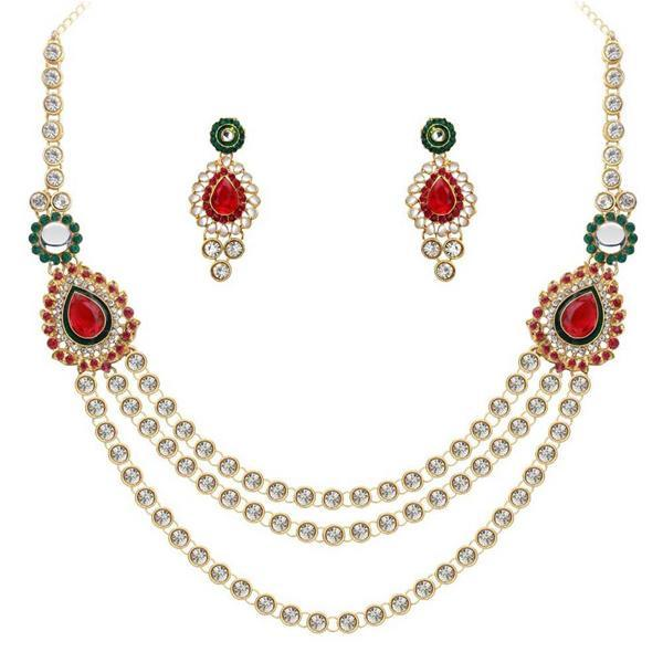 Kriaa Maroon And Green Stone Necklace Set - 2103104