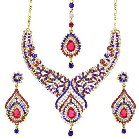 Kriaa Austrian Stone Necklace Set With Maang Tikka
