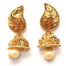 Kriaa Zinc Alloy Gold Plated Pearl Drop Jhumki