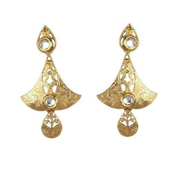 Kriaa Kundan Zinc Alloy Gold Plated Dangler Earring - 1307337
