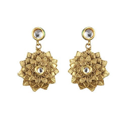 Kriaa Kundan Zinc Alloy Gold Plated Dangler Earring - 1307338