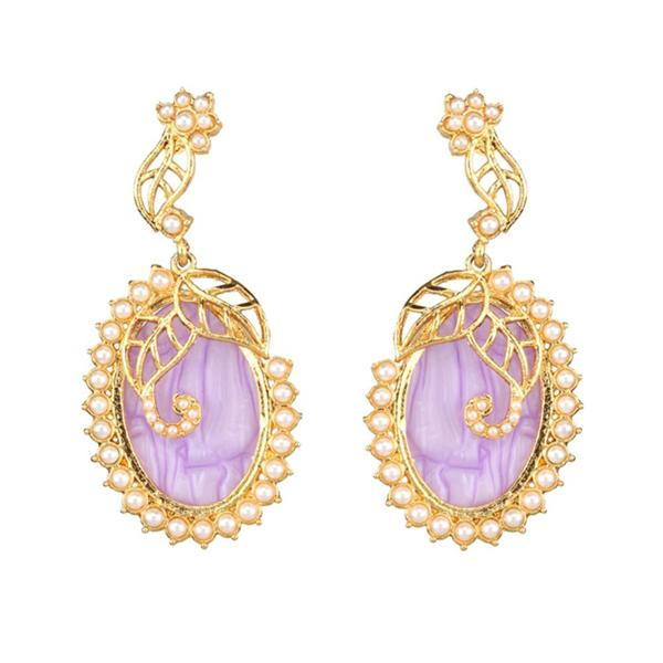Kriaa Gold Plated Resin Pearl Dangler Earring - 1307341C