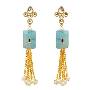 The99jewel  Gold Plated White Kundan Dangler Earrings - 1307353