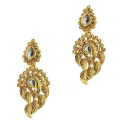 Kriaa Kundan Gold Plated Zinc Alloy Danglers earring - 1307221