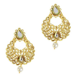 Kriaa Gold Plated Kundan Pearl Drop Dangler Earring - 1307222