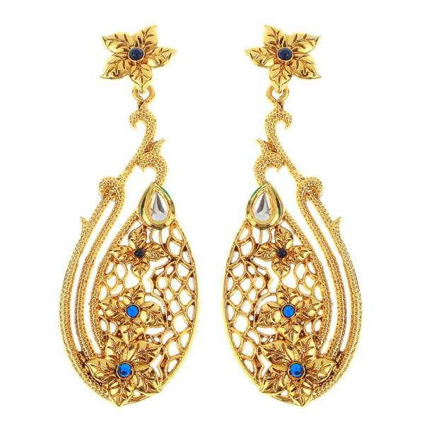 The99jewel Gold Plated Blue Kundan Danglers Earrings