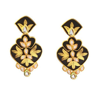 Kriaa Pearl and Kundan Gold Plated Dangler Earring - 1307303