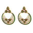 The99jewel Green Pota Stone Gold Plated Danglers Earrings
