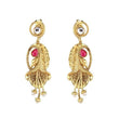 The99Jewel Pink Pota Stone and kundan Danglers earrings - 1307325