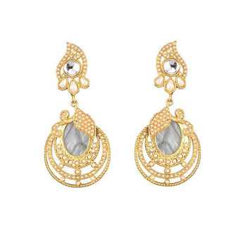 Kriaa Kundan Resin Gold Plated Dangler Earring -1307343B