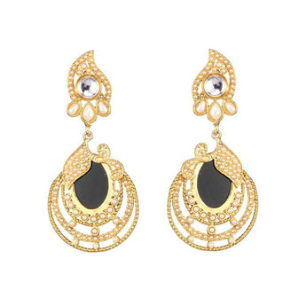 Kriaa Kundan Resin Gold Plated Dangler Earring -1307343C