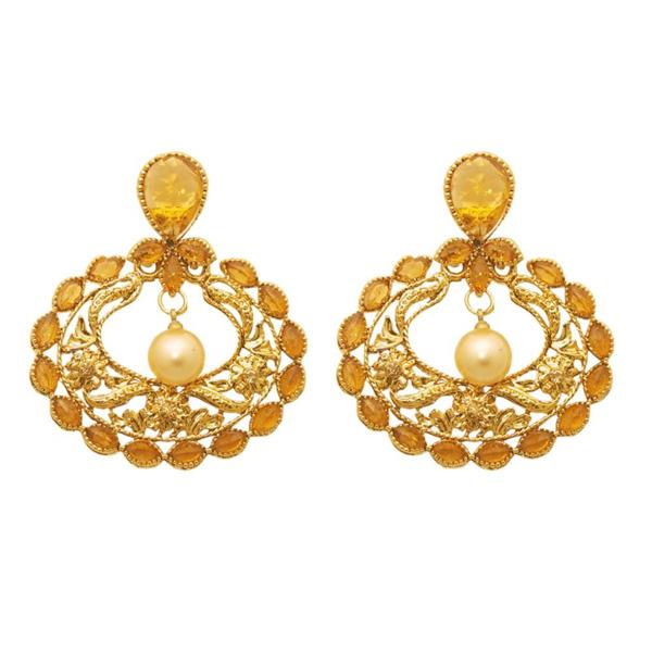 Kriaa Brown Kundan Gold Plated Dangler Earring