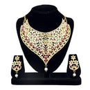 Kriaa Gold Plated Stone Kundan Zinc Alloy Necklace Set