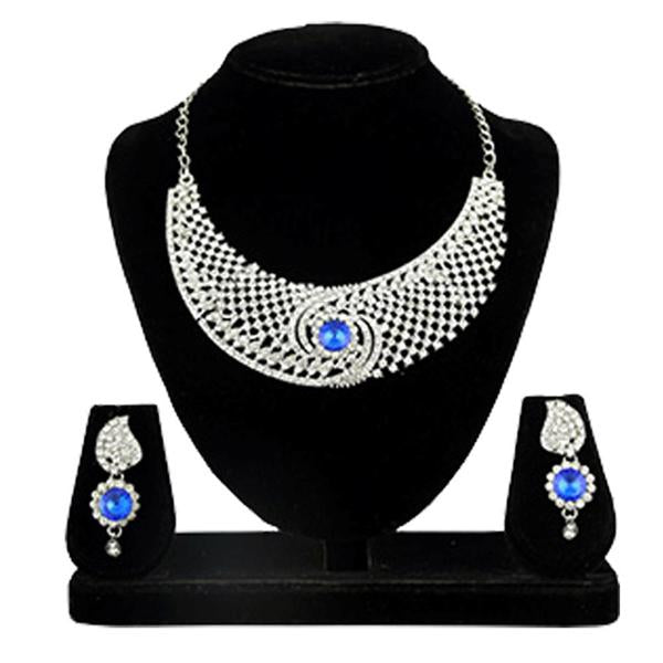 Kriaa Silver Plated Blue Stone Alloy Necklace Set