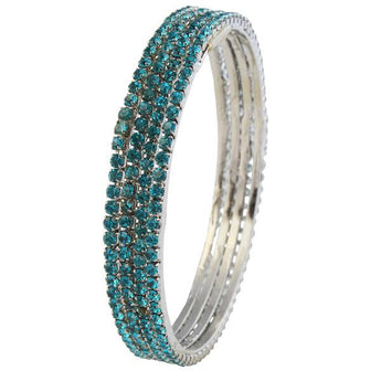 kriaa Silver Plated Blue Stone 4 Bangle Sets