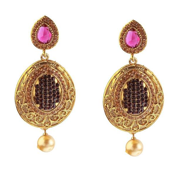 Kriaa Stone Gold Plated Gold Plated Dangler Earring
