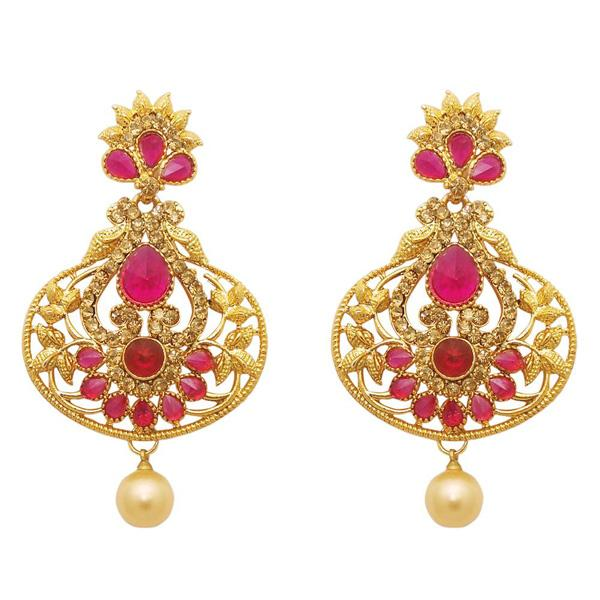 Kriaa Stone Pearl Drop Gold Plated Dangler Earring