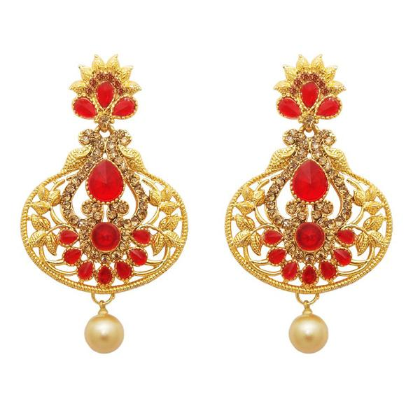 Kriaa Austrian Stone Pearl Drop Gold Plated Dangler Earring