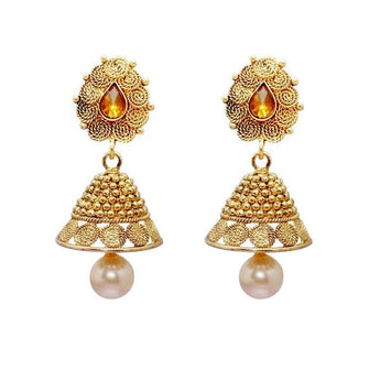 Kriaa Gold Plated Pearl Drop Jhumki Earrings - 1309713A