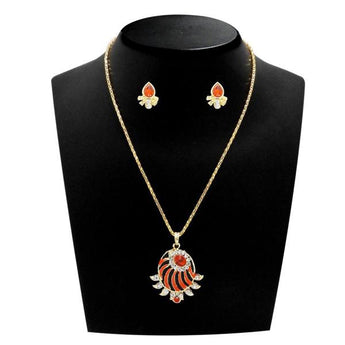 Kriaa Gold Plated Red Austrian Stone Pendant Set - 1203806