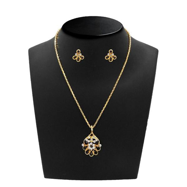Kriaa Gold Plated Purple Austrian Stone Pendant Set