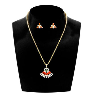 Kriaa Red Austrian Stone Gold Plated Pendant Set - 1203808