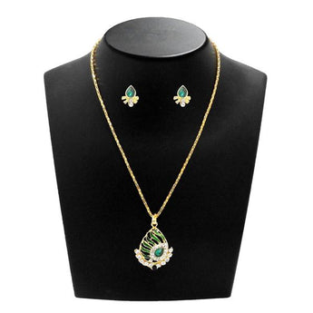 Kriaa Green Meenakari And Austrian Stone Pendant Set