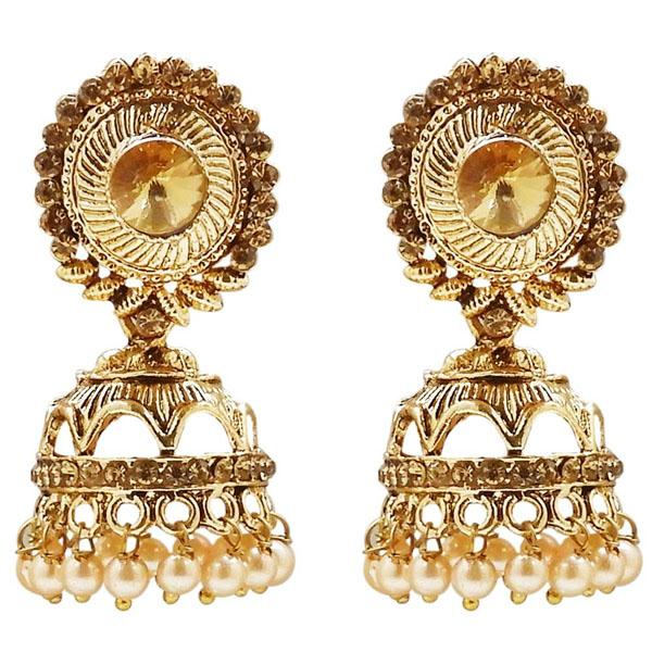 Kriaa Gold Plated Stone And Pearl Jhumki Earring - 1311310B