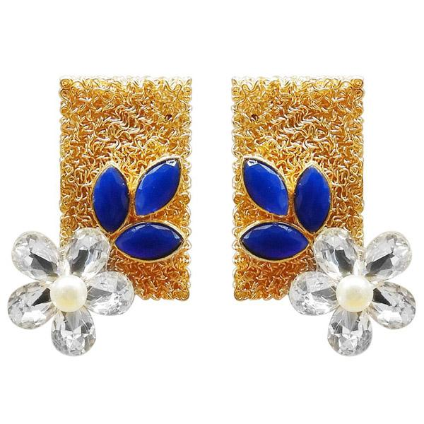 Kriaa Resin Stone Gold Plated Floral Dangler Earring - 1311405D