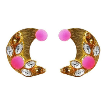 Kriaa Gold Plated Resin Stone Stud Earrings - 1311406C