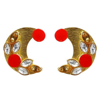 Kriaa Gold Plated Resin Stone Stud Earring - 1311406E