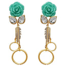 Kriaa Resin Stone Gold Plated Floral Dangler Earrings - 1311409D