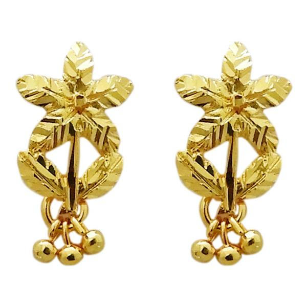 Kriaa Zinc Alloy Floral Design Gold Plated Stud Earring
