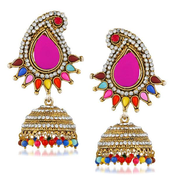 Kriaa Multi Pota And Austrian Stone Jhumki Earrings - 1311507F