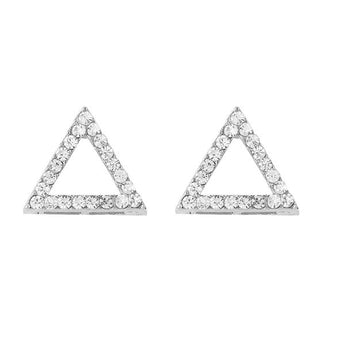 Kriaa Austrian Stone Triangle Shape Silver Plated Stud Earrings - 1310702B