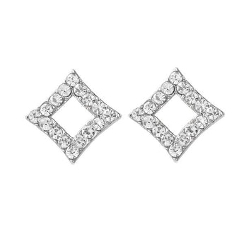 Kriaa Silver Plated Austrian Stone Stud Earrings - 1310703B