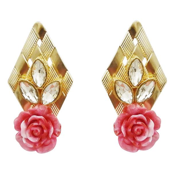 Kriaa Gold Plated Pink Resin Stone Floral Dangler Earrings