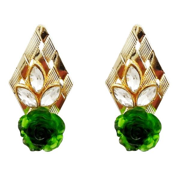 Kriaa Green Resin Stone Gold Plated Floral Dangler Earrings - 1311403H