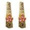 Kriaa Pink Resin Stone Gold Plated Dangler Earrings - 1311407G