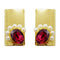 Kriaa Purple Resin Stone Gold Plated Pearl Dangler Earrings - 1311408K