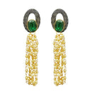 Kriaa Gold Plated Green Resin Stone Pearl Dangler Earrings - 1311411G