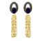 Kriaa Blue Resin Stone Gold Plated Pearl Dangler Earrings - 1311411L