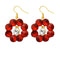 Kriaa Gold Plated Maroon Resin Stone Dangler Earrings - 1311412I