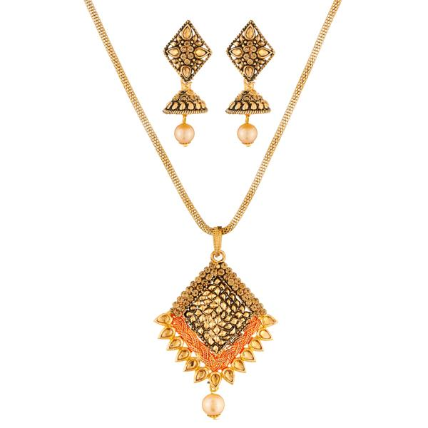 Kriaa Gold Plated Brown Austrian Stone Pendant Set